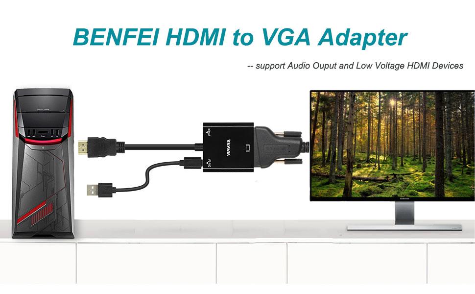 Adaptador HDMI a VGA, BENFEI HDMI a VGA (Macho a Hembra) 1080P Convertidor con Audio y Mirco USB Cable de Carga para PC, Portátiles, HDTV Proyectores, PS4/3 XBOX y Otros Dispositivos HDMI: