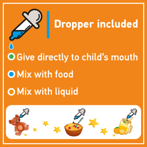 Dropper included, convenient for parents, mix with liquid, mix with food