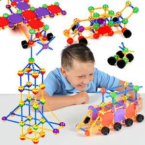 boy building rocket ship train airplane cars