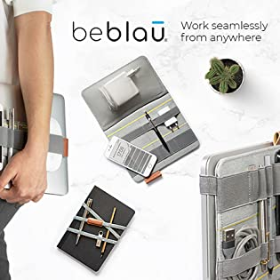 Working from Home Accessory Solution Portable Organizer BEBLAU Slim School Students Organizer for Office//Home GREAT GIFT! BLUE Multi Functional Organizer Attachable to The Laptop /& Notebook