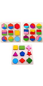 Wooden Toys Montessori Color Math Shapes Geometric Puzzles,5.9inches,Pack of 3