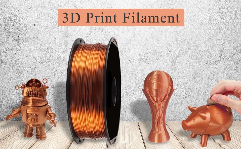 Seda Brillante Cobre Filamento de Impresora 3D PLA - Filamento 3D ...