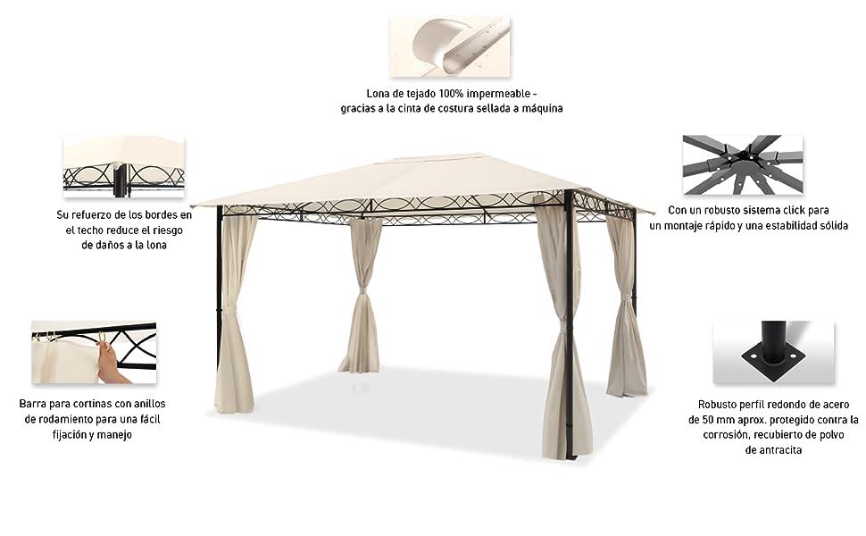 TOOLPORT Cenador de jardín 3x4 m cenador Impermeable con 4 ...