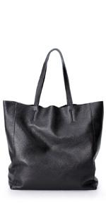 La Poet Women's Cowhide Leather Bucket Shopping Tote Handbag