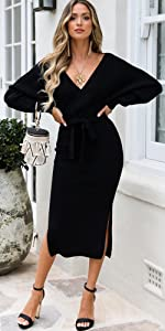 Women's V Neck Backless Wrap Batwing Long Sleeve Slit Belted Sweater Dress