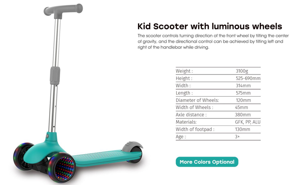 kid scooter with luminous wheel