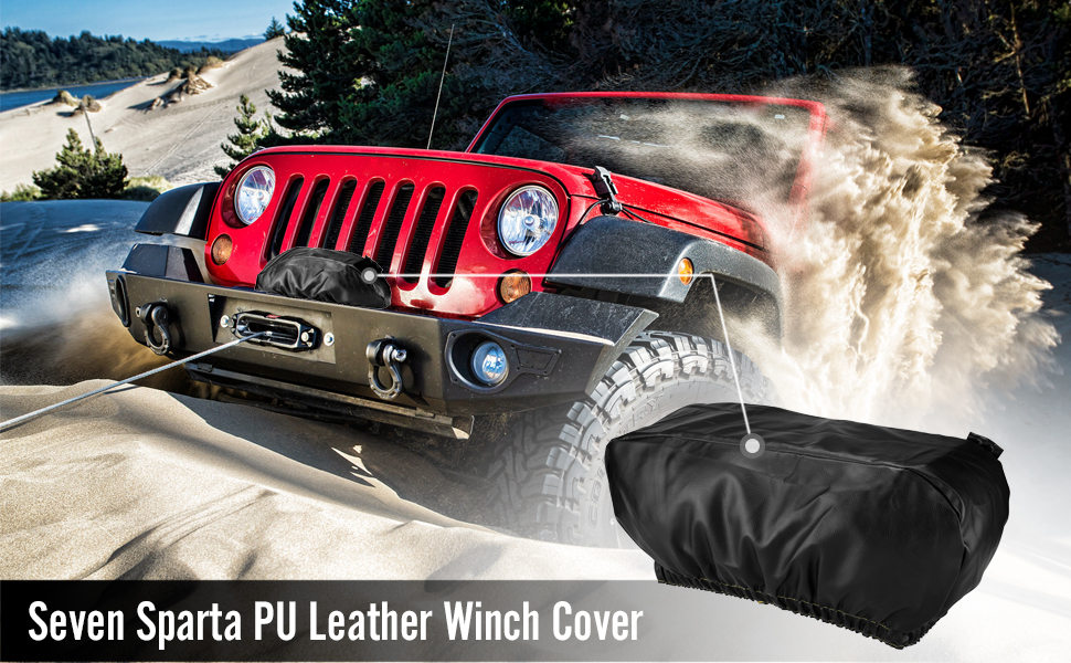 "Dust-Proof,Universal Winch Protective Cover for Electric Winches Up to 17500 Lbs Winch Cover Waterproof 24/"" W x 10/"" H x 7/"" D Black"