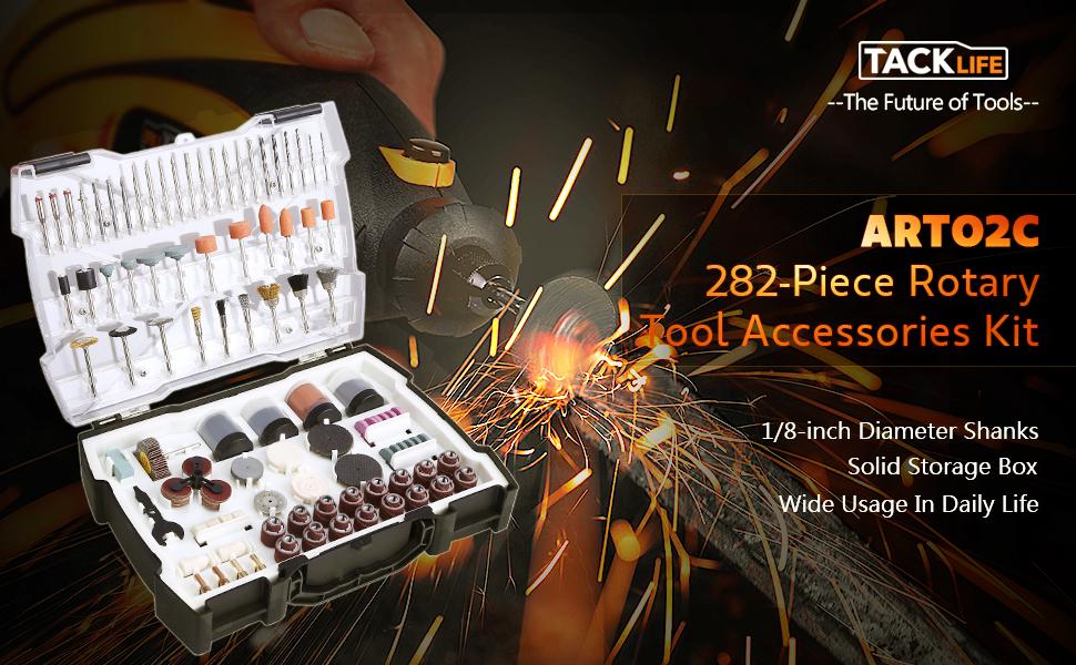 TACKLIFE ARTO2C 282-Piece Rotary Tool Accessories Kit 1//8-inch Diameter Shanks U