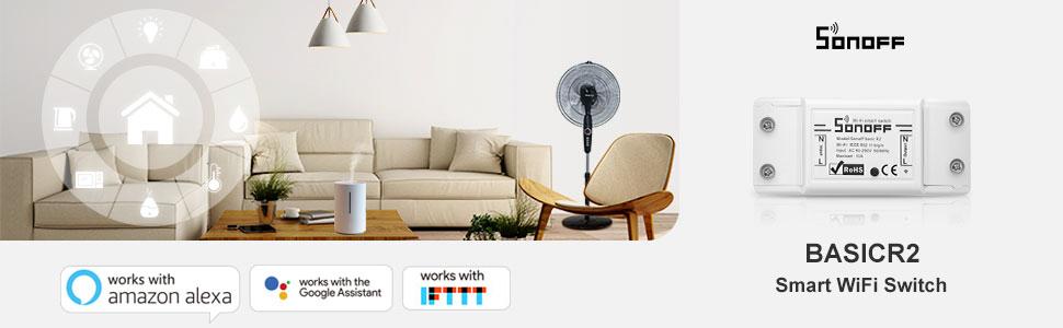 sonoff, itead, smart switch, amazon alexa, google home
