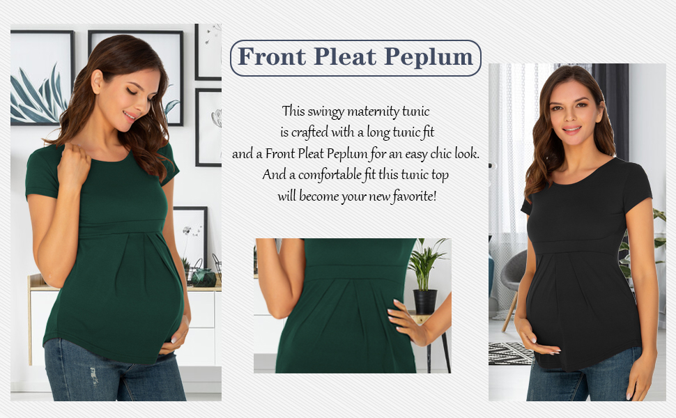 Bhome Maternity Shirts Long Sleeve Top Pregnancy Round Neck Blouse Casual Front Pleat Peplumt Tshirts