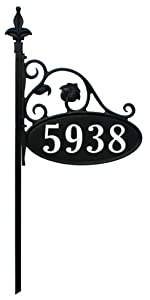 Park Place 30 inch short reflective home address sign with deco font 911 address number sign