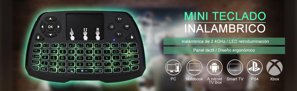 Docooler Control Remoto Teclado Inalámbrico con Ratón de 2.4GHz ,Mini teclado inalambrico con ratón touchpad,para el Cuaderno de la PC TV Smart TV de Android TV Box: Amazon.es: Electrónica