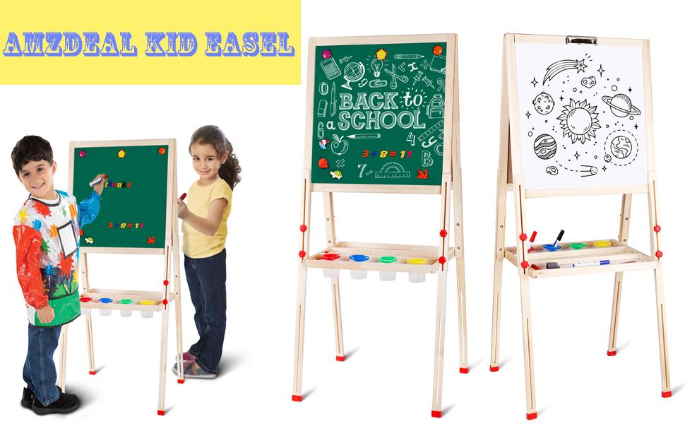 Doppelseitige Standtafel f/ür Kinder von 3 bis 8 amzdeal Kindertafel Holz Magnet Staffelei H/öhenverstellbar von 80 bis 145 cm Wei/ß//Schwarze Tafel mit Papier Rollen Halter