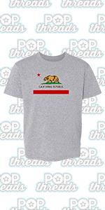 Pop Threads California State Flag Republic Los Angeles Bear Youth Kids Girl Boy T-Shirt