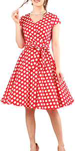 BeryLove Women's Rcokbilly 1950s Vintage Dress Cocktail Dress with Cap-Sleeves