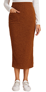 Pocket Front Bodycon Knitted Skirt