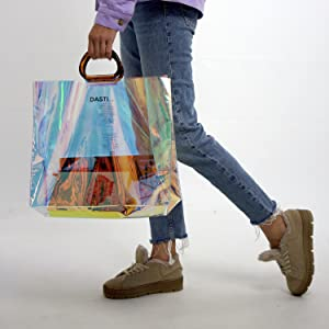 tote buffalo handles acrylic handbags bags glitter prism reflective iridescent purses luminous bag
