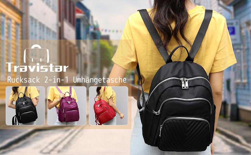 rucksack damen rucksack klein nylon rucksack mini schwarz cityrucksack frauen schulrucksack mädchen