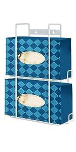 Double Glove Box Dispenser (White) - Metal Holder for Wall Mount - Glove Box Holder - Glove Holder