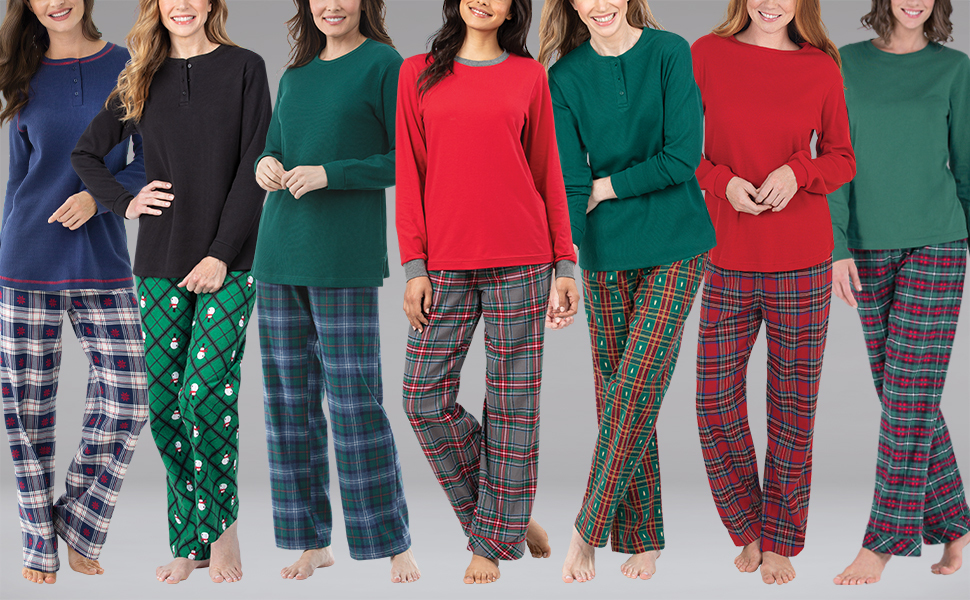 line up of models on gray background wearing the womens plaid flannel pajama sets