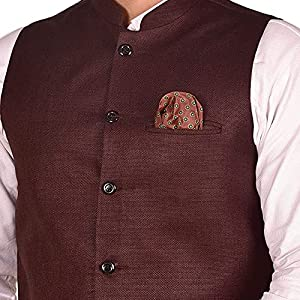 breast pocket square stylist jacket for men woven cotton blend nehru modi jacket for wedding party