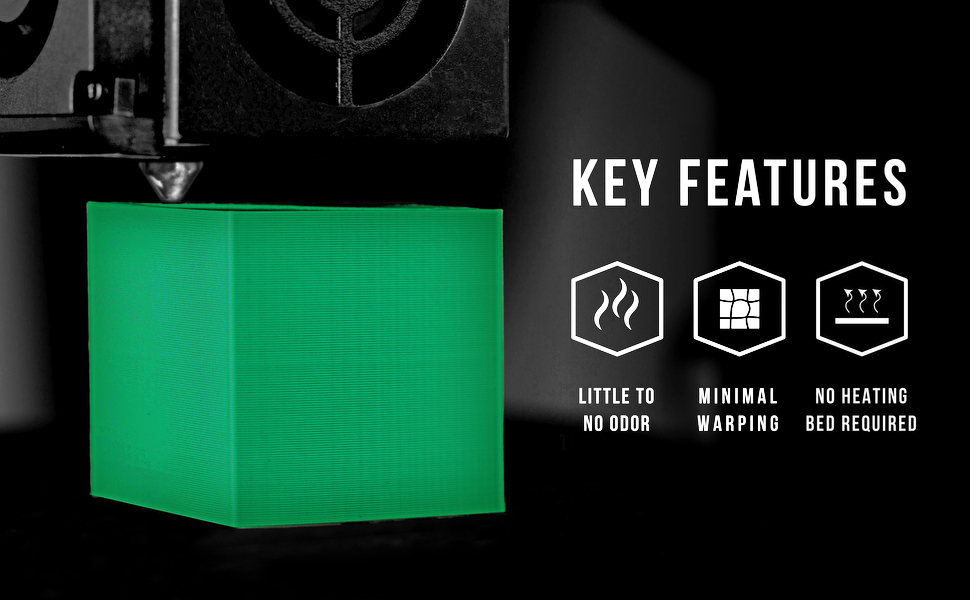 pla's key features include little to no odor, minimal warping and no heating bed required