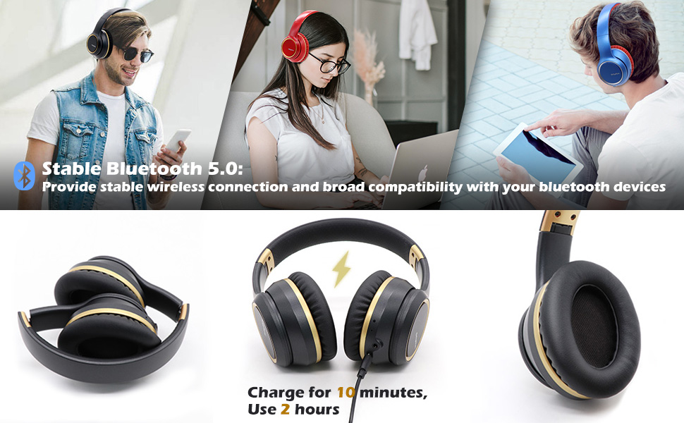 1 - Noise Cancelling Headphones Wireless Bluetooth 5.0, Over-Ear Srhythm NC15 Headset With Microphones For Online Class/Home Office/TV/PC/Cell Phone-Low Latency