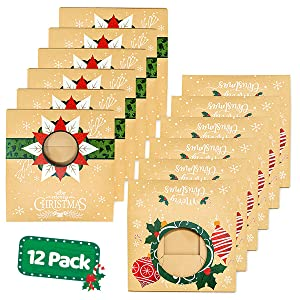 Amazon Com Christmas Cookie Boxes With Window Bulk 12 Pack Kraft Large Holiday Christmas Food Bakery Treat Boxes Candy And Cookie Boxes For Gift Giving Kraft Packaging Containers Tins