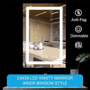 round led mirror, vanity with mirror and lights, lighted vanity, makeup mirror with led lights,