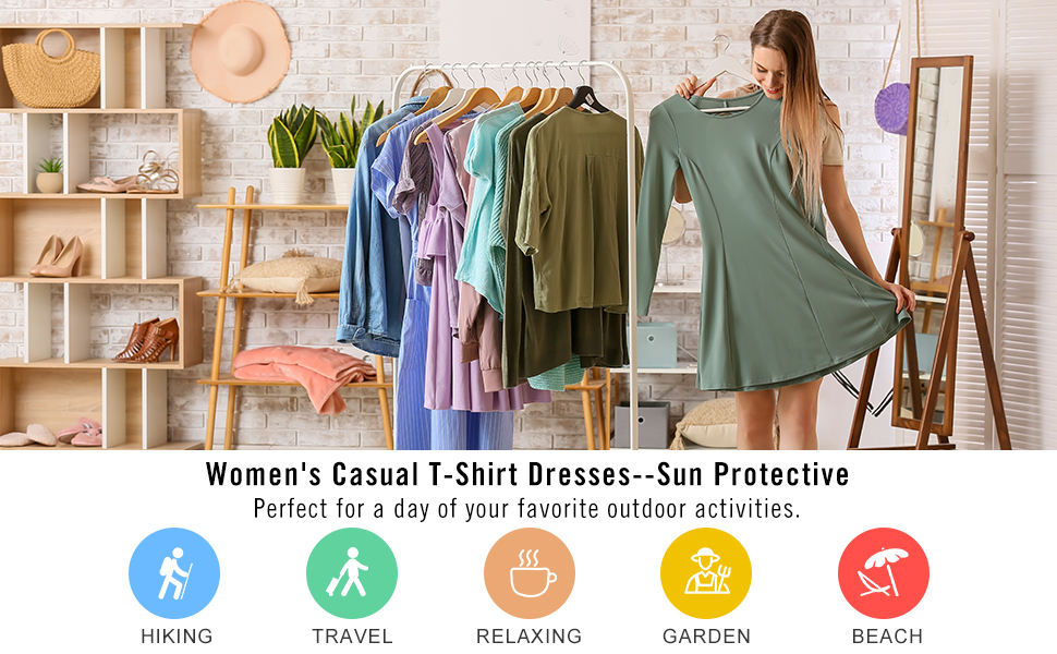 Sun Protection Shirt Casual Dresses SPF Long Sleeve Swimsuit Cover Ups Pockets BALEAF Womens UPF 50