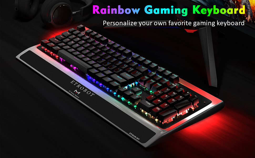 ETROBOT Mechanical Gaming Keyboard with Black Switches, USB Wired Keyboard  for PC with Ergonomic Wrist Rest, Multimedia Control, 16 8 Million RGB