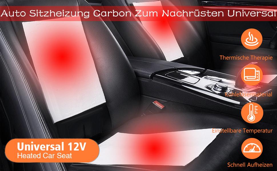 Conpush Sitzheizung aus Carbon zum Nachr/üsten Universal 2X Heizmatten 5 Stufen Schalter Nachr/üstsatz