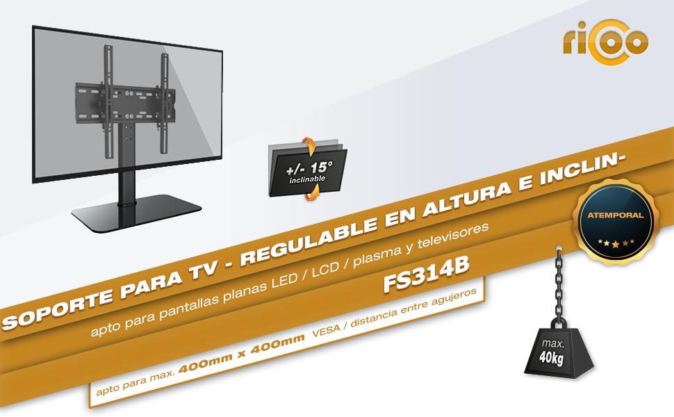 RICOO Soporte TV Suelo FS314-W Base de pie para Pantallas Planas ...