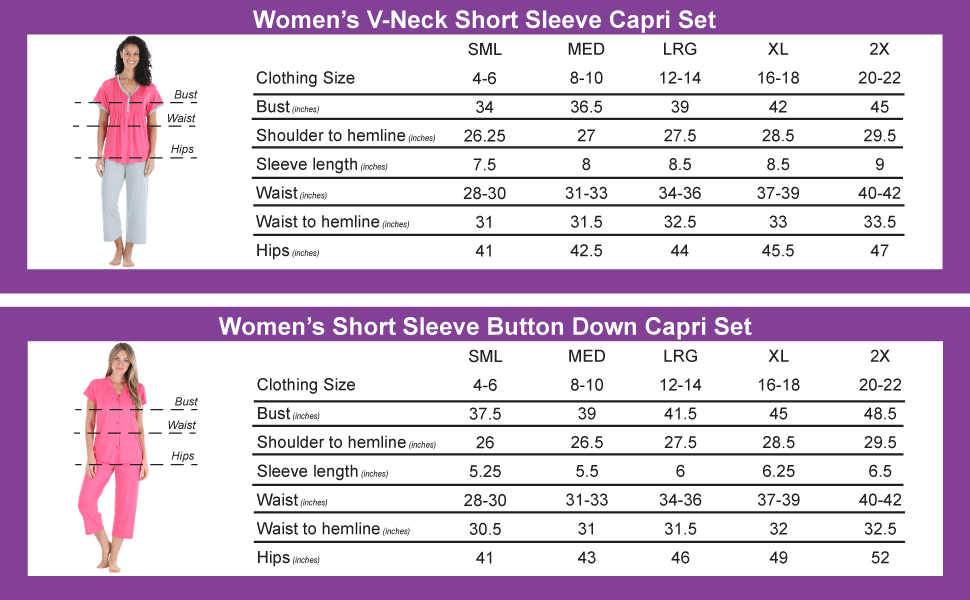 Women's Capri Set Size Chart