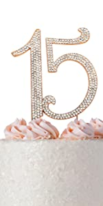 15 cake topper quinceanera birthday rose gold 15th party decorations fifteen decoration for girls