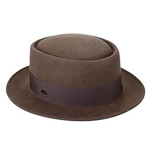 Brown NYFASHION101 Mens Fedora Derby Hat with Feather Medium