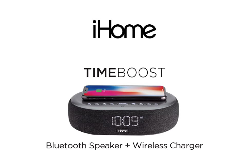 Battery Backup and USB Charging iHome TIMEBOOST Qi-Certified Wireless Charging Alarm Clock with Bluetooth Speaker Model iBTW41BG Auto-Dimming Snooze