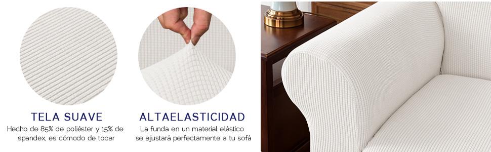 subrtex 1 Pieza Funda de Sofá Poliéster Elástica Cubierta de Asiento Forro de Sofá Doméstico (2Plazas, Blanco)