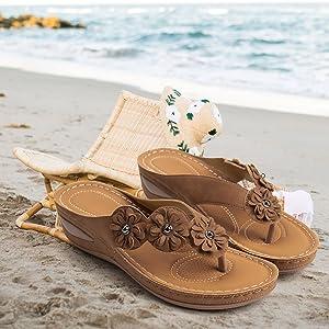 slide wedge sandals flower flip-flop sandals ladies walking sandals women casual summer sandals pink