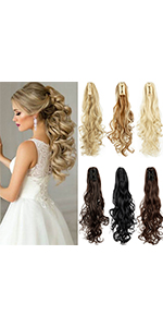 Deep Curly Claw Jaw Ponytail Extension Long Wavy Synthetic Hair Extensions Ponytail