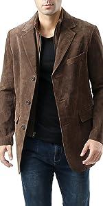 BGSD Men's Brett Leather Blazer Suede Sport Coat Jacket (Regular & Tall)
