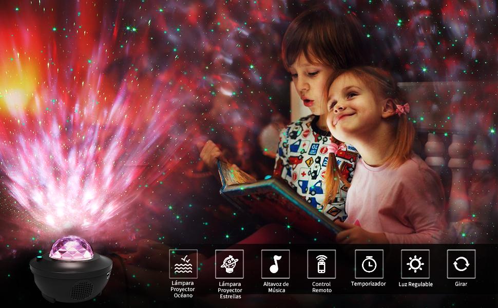 LBell Lámpara Proyector, Lámpara de Nocturna Estrellas & Océano 2 ...
