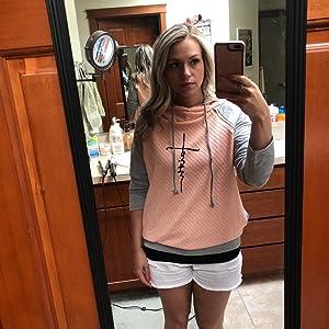 pink hoodies,faith print sweatshirt,casual pullover tops
