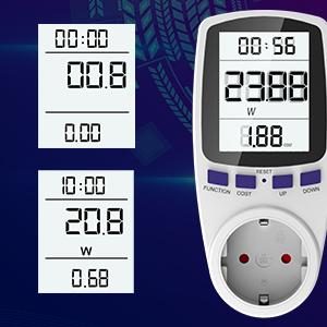 Medidor de Electricidad, Gifort Medidor de Costo de Energía con Pantalla Digital LCD para Cálculo del Medidor de Potencia para Toma: Amazon.es: Electrónica