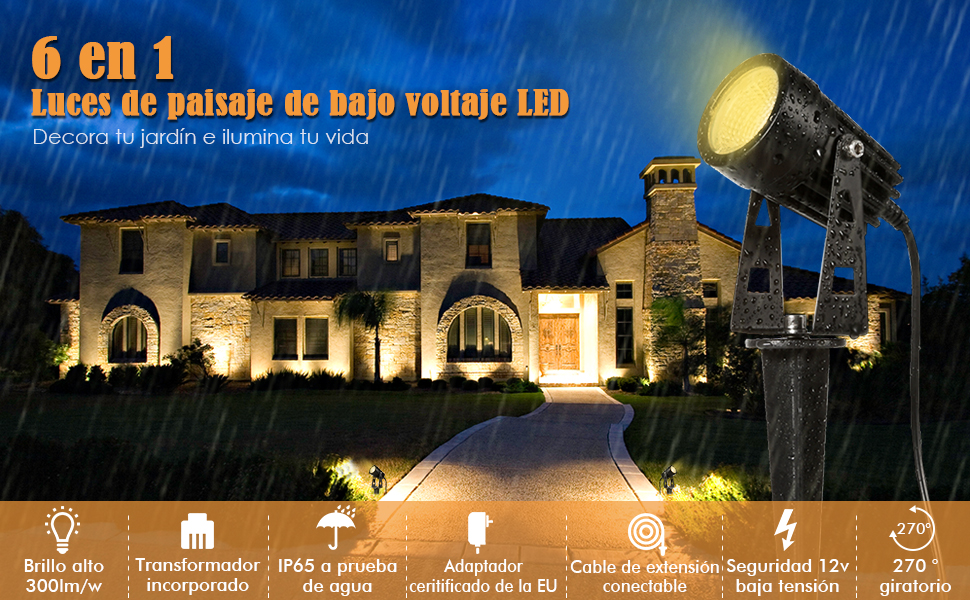Luminación de Jardín, ECOWHO LED de Exterior Punta de Tierra ...