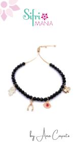 Good Luck Wishbone Evil Eye Hamsa Elephant Charm Bracelet for Women