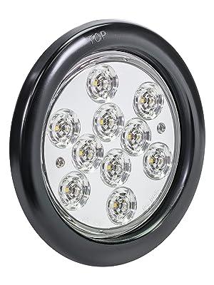 "4pc White 4"" 10-LED Round Tail Light"