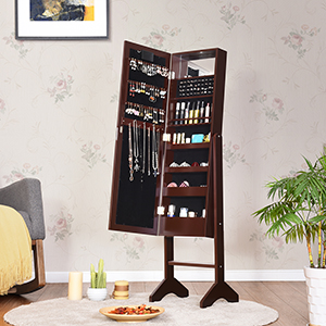 Giantex Standing Jewelry Armoire with 18 LED Lights