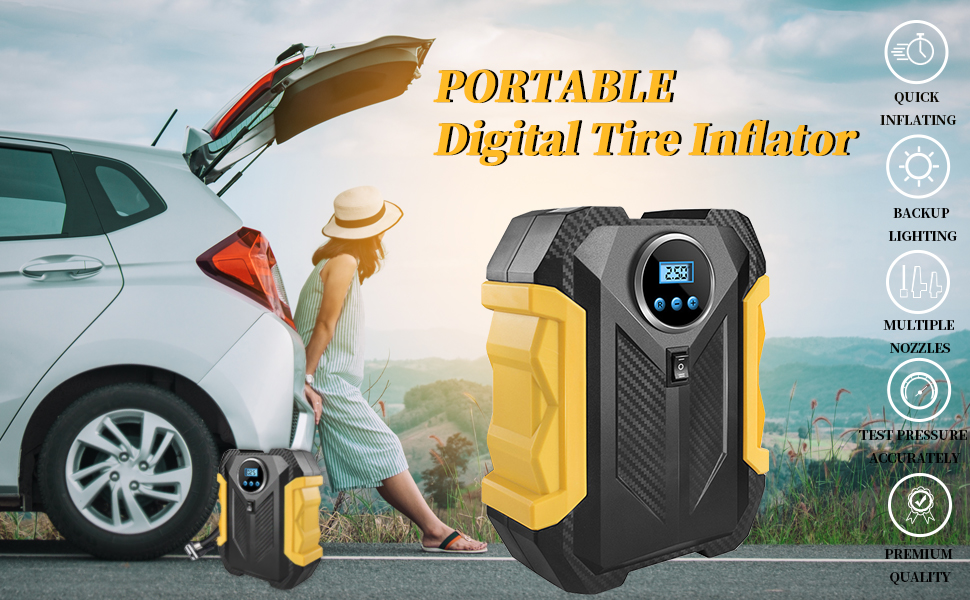 6d8cb781 60bd 4dab ab35 dba18cc75220. CR0,0,970,600 PT0 SX970 V1 - Surwit Portable Tire Inflator Pump, DC 12V Car Tire Air Compressor, Auto Shut Off Feature, Digital LCD Display, Emergency LED Flashlight, for Car Truck Motorcycle Bicycle Tires