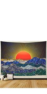 Japanese Mountain Sun Tapestry